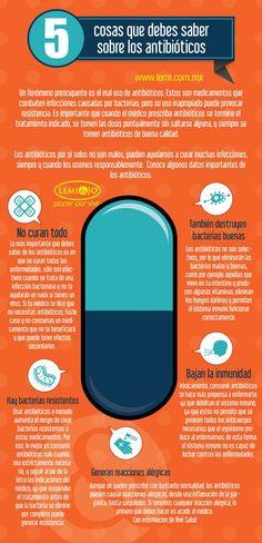 5 cosas que debes saber sobre los antibióticos. #salud #infografia