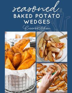 Seasoned Baked Potato Wedges - Baked in the oven, this easy, healthy recipe makes crispy, oven-fried wedges that are simply spiced and cooked to perfection. You'll also learn to cut the wedges with ease. #ErrensKitchen #potatorecipes #potatoes #potatowedges #easyrecipe #easycookingrecipes #easycooking #budgetmeals Potato Dishes, Potato Recipes, Vegetable Recipes, Food Dishes, Side Dishes, Savoury Recipes, Baked Potato Wedges Oven, Potato Wedges Recipe, Oven Baked