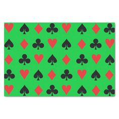 """Poker Card Suits 10"""" X 15"""" Tissue Paper - $2.50 - Poker Card Suits 10"""" X 15"""" Tissue Paper - by #RGebbiePhoto @ zazzle - #poker #card #game - Heart, Club, Spade and Diamond in Red and Black. Poker players or card players will enjoy this repeating pattern. Great for Las Vegas theme gambling nights, or just for fun!"""