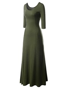 f74c5b45073 NEARKIN NKNKW5LD652 Beloved Womens Scoop Neck Slim Cut Stretchy Maxi Dress  KHAKI US LTag size XL     Click image to review more details.