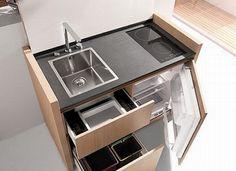 Ở những nơi mà diện tích được tận dụng tối đa thì việc trang trí cũng như sắp xếp các vật dụng trong nhà quả là một việc nan giải. Dưới đây sẽ là những thiết bị nhà bếp vừa cao cấp lại vừa tiết kiệm không gian.