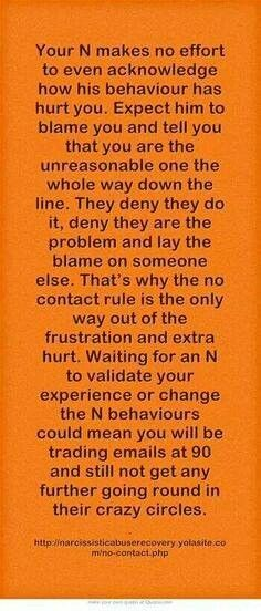Your N makes no effort to even acknowledge how his behavior has hurt you. Expect him to BLAME you & tell you that you are the unreasonable one the whole way down the line. They deny they do it, deny they are the problem & lay the BLAME on someone else. That's why the no contact rule is the only way out of the frustration & extra hurt.