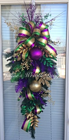 Mardi Gras Door Wreath / Swag  Jayne's wreath designs on FB and Instagram