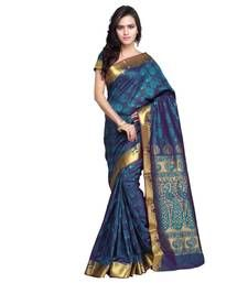 Buy Turqoise plain art silk saree with blouse kanchipuram-silk-saree online