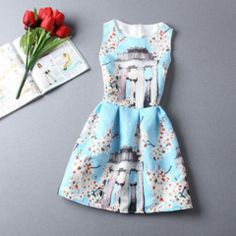Casual Round Neck Floral Print Mini Dress - Daisy Dress For Less - 25