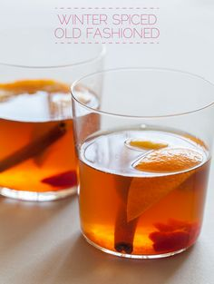 Winter Spiced Old Fashioned 1 cup sugar, 1 cup water 3 cardamom pods 1 star anise 1 cinnamon stick 12 oz bourbon orange 8 m cherries Place ingredients 1-5 in saucepan. simmer over medium heat until dissolved. Bring to boil, cover, remove from heat. Steep for 30 mins. Strain. Cool completely before placing in the fridge for an hour. Divide orange cherries into each glass,muddle. Shake chilled syrup, bourbon & ice into l shaker. Divide mixture into each glass and top with an orange wedge