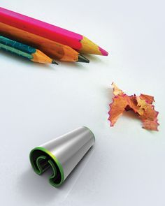 For kids The Twist is a very cool pencil sharpner that takes in any size pencil. The different diameter-sized pencils fit in comfortably thanks to the spring steel body that adjusts to the form. Designer: Abhishek Anupam. Twist is a 2012 red dot award: design concept winner.