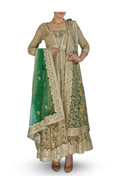 Beige Anarkali with Embroidered Green Dupatta