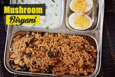 Mushroom Biryani with Seeraga samba and Homemade Biryani Masala/ Restaurant style mushroom biryani Vegetarian Biryani, Vegetarian Recipes, Cooking Recipes, South Indian Biryani Recipe, Mushroom Biryani, Tamil Cooking, Millet Recipes, Indian Food Recipes, Ethnic Recipes