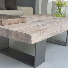 40 Comfy Coffee Table Design Ideas - Modul Home Design Coffee Table Design, Coffee Table Styling, Cool Coffee Tables, Design Table, Table Designs, Grey Wood Coffee Table, Wood Furniture, Furniture Design, Outdoor Furniture