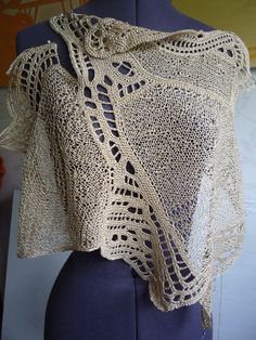"""Linen knitted dress-tunic """"Northern landscape"""" in the author's technique of freeforms Freeform Crochet, Crochet Art, Irish Crochet, Crochet Motif, Crochet Designs, Knitting Designs, Free Crochet, Knitting Patterns, Crochet Patterns"""