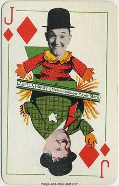 Laurel and Hardy 1933 Thomas De La Rue Jack of Diamonds Playing Card on Immortal Ephemera