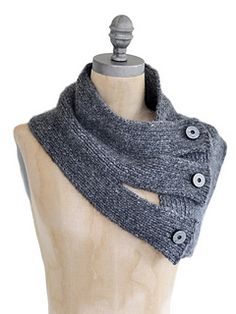 Tri-Button Cowl by Vladimira Cmorej. LOVE IT!!  Might recreate using serger & thrift sweater?