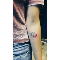 Musicnote tattoo  #music #notetattoo #watercolortattoo #watercolor #color…