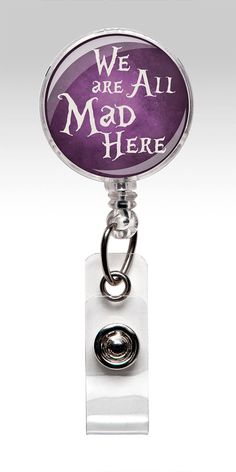 Alice in Wonderland - Retractable ID Badge Holder - Purple - Name Badge Reel Clips - Nurse Badge on Etsy, $7.99