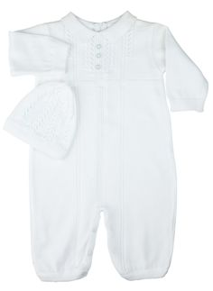 Feltman Brothers baby boy 2-piece white knit romper with matching hat. Cozy and warm, perfect for winter! Makes a great baby gift! http://www.feltmanbrothers.com/sweater-knit-romper-with-hat/