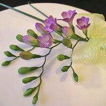 Handmade sugar flower tutorial - close-up of hand-made sugar freesias