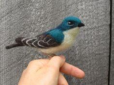 Tree Swallow needle felted bird by Ainigmati on Etsy