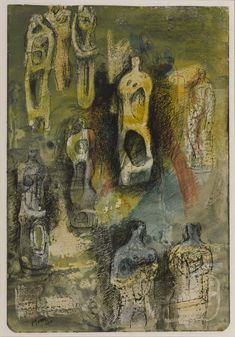 Henry Moore,  Standing Figures, 1940, Wax, coloured pencil, ink and watercolour on paper