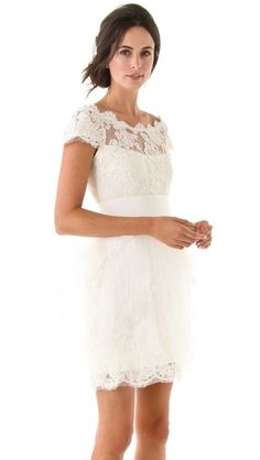Gorgeous tulle + lace dress by Marchesa perfect for a small casual wedding or wear it for the wedding rehearsal