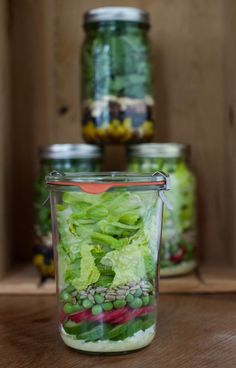 Spring Pea and Romaine with Feta, Cucumber, and Radish, Creamy Buttermilk Dressing* & Arugula, Blueberry and Bacon Salad with Almonds, Balsamic Vinaigrette*  -- (Make Ahead) Spring Salads in Jars With Tips for Creating a Lasting, Portable Salad