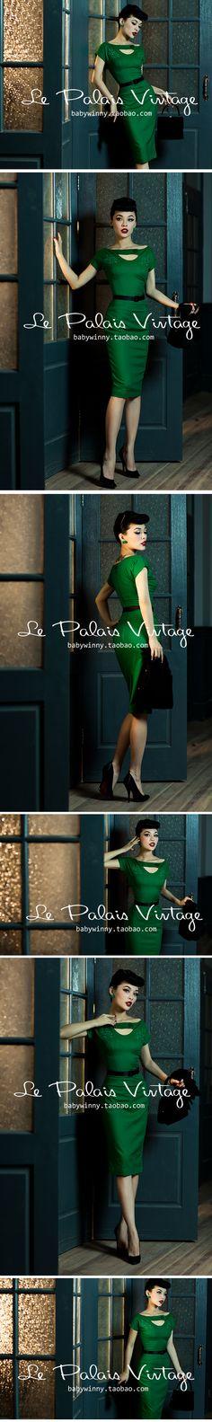 le palais vintage 优雅复古经典祖母绿镂空刺绣紧身连衣裙0.35-淘宝网