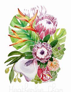 Tropical Flower Watercolor Painting Original - Leaf - Summer - Hawaiian - Tropic 9 x 12