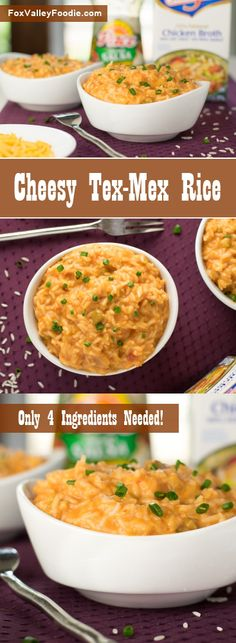 With only four simple ingredients, this cheesy Mexican rice is a filling side dish your family will love, plus it is quick and easy to prepare! Best Lunch Recipes, Side Dish Recipes, Dinner Recipes, Favorite Recipes, Amazing Recipes, Yummy Recipes, Quesadillas, Burritos, Enchiladas