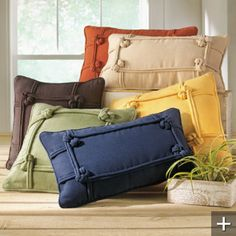 navy knotted pillow