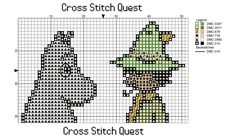 Free Moomin Cross Stitch Pattern Moomintroll and Snufkin – Cross Stitch Quest Cross Stitching, Cross Stitch Embroidery, Cross Stitch Patterns, Knitting Patterns, Perler Bead Disney, Safari, Small Cross Stitch, Doodle Art, Animal Crossing