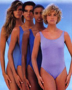 The Speedo swim team look dominated bathing suit shoots in `87—as did strong, healthy models who looked capable of completing a 100 yard butterfly race. Among them, a then 22-year-old, future Bond Girl: Famke Janssen stands second from the left. (January 1987) - ELLE.com