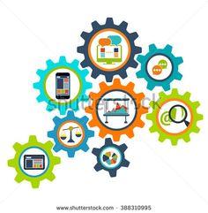 Concept process cogwheel design flat. Process and wheel, cogwheel , cog wheels, cogwheel icon, cogwheel gear, mechanism progress process, web communication process mechanical illustration
