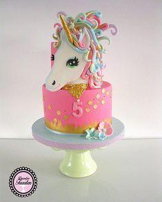 Pink Unicorn birthday cake made with Satin Ice Cakes To Make, Cute Cakes, Pretty Cakes, Little Pony Cake, Ballerina Cakes, Animal Cakes, Novelty Cakes, Girl Cakes, Cake Creations