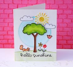 Lawn Fawn - Critters in the Burbs and Hello Sunshine Card Tags, I Card, Paper Craft Making, Lawn Fawn Stamps, Animal Cards, Card Making Inspiration, Scrapbook Cards, Scrapbooking, Cool Cards
