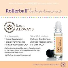 Essential oils roll-on recipe for tiny airways. For more info on Young Living Essential Oils, visit: www. Essential Oils For Babies, Essential Oils For Kids, Essential Oil Uses, Young Living Essential Oils, Oils For Newborns, Roller Bottle Recipes, Patchouli Essential Oil, Aromatherapy Oils, Doterra Essential Oils