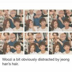 Jeonghan deve ter tido muito trabalho para pentear depois, Woozi é tão cruel ( por isso ele é meu bias)