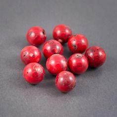 Lot de 2pcs - perles rondes • corail renforcé rouge •  veines, craquelures naturelles • 18mm