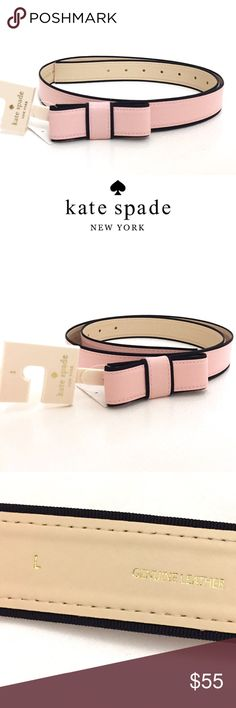 "Kate Spade Light Pink Bow Belt Brand new with price tag attached. Green KS tag is off. This gorgeous light pink leather bow belt with black fabric border accents by Kate Spade is sure to add that stylish touch to any outfit. Designed to accentuate the waist, this darling belt will bring an outfit together beautifully.  Made from genuine Leather; features pin dot closure with bow detail; size: Large. Measures approx. 43"" long. Holes are 34""-40"". Approx. 1"" Wide. kate spade Accessories Belts"