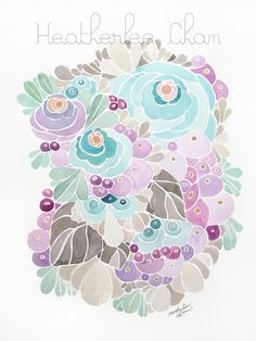 Flower Watercolor in turquoise purple and gray by ladypoppins, $14.50