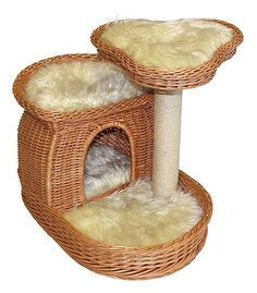 $253.95-$253.95 A multilevel home for your feline friend. This finely crafted wicker cat bed includes 4 removable cushions that fit snugly into each level. Each cushion is made of soft, furry polyester.