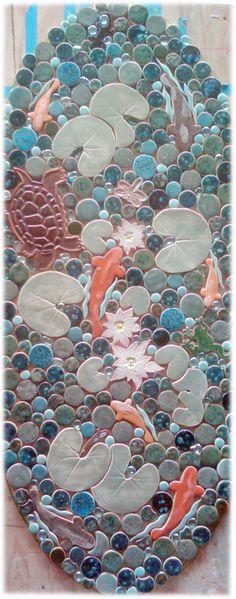 lily pond ceramic tile floor