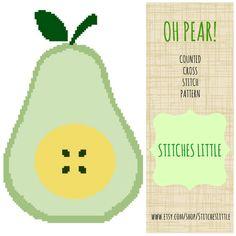 Retro Modern Cross Stitch Pattern  Oh Pear  PDF  by StitchesLittle, $3.00  #DIY #needlecraft #StitchesLittle