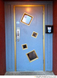 Mid-Century Looking Door at an Austin Bar Mid Century Modern Door, Mid Century Art, Mid Century Design, Austin Bars, Door Knobs, Curb Appeal, Decorative Items, Filing Cabinet, Mid-century Modern