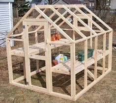 "My original plan was to build the greenhouse out of cedar, but because this was my first attempt I didn't want to invest too much into something that might not be exactly what I wanted, so I decided to use pine 2 x 3's for the framing and 6 mil greenhouse plastic for the covering. The entire cost for the 6'-10"" x 8' greenhouse the was less than $150.00 including all the hardware.  Bepa's Garden: Building a Greenhouse"