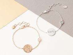 e266557c816e Personalised Hammered Disc and Gem Bracelet
