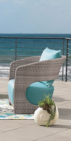 Indulge your eye for the modern and fresh, without sacrificing comfort, when you take your place in our curvaceous Angela Outdoor Seating Collection. Outdoor Seating, Outdoor Rugs, Outdoor Furniture, Lounge Furniture, Outdoor Lounge, Furniture Design, Coastal Living, Coastal Decor, Porches