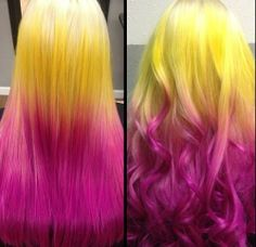 Platinum, Yellow to Pink Ombre Hair - Hair Colors Ideas Pink Ombre Hair, Pastel Hair, Blonde Pink, Neon Hair, Color Your Hair, Cool Hair Color, My Hairstyle, Cool Hairstyles, Unnatural Hair Color