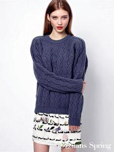 Slim O- Neck Thick Retro Twist  Sweaters
