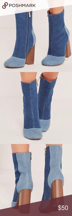 MISSGUIDED PATCHWORK DENIM ANKLE BOOTS super cute denim platform ankle boots. worn only once. comes with original box as well. Missguided Shoes Ankle Boots & Booties