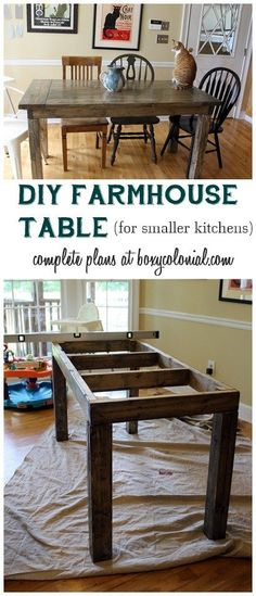 Complete Plans and Cut List to Make This Farmhouse Table for a Smaller Kitchen - - - - This will be perfect! Now I just need to find some plans for some chairs.